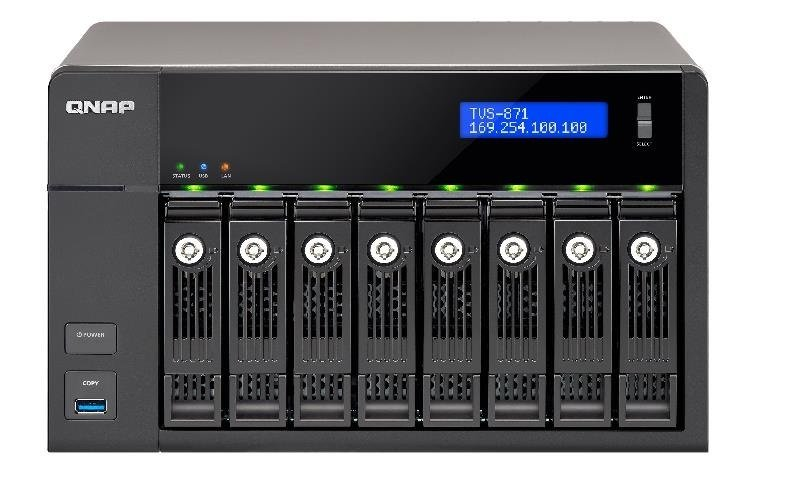 QNAP TVS-871-I3-4G 64TB (8 x 8TB WD RED PRO) 8 Bay NAS with 4GB RAM