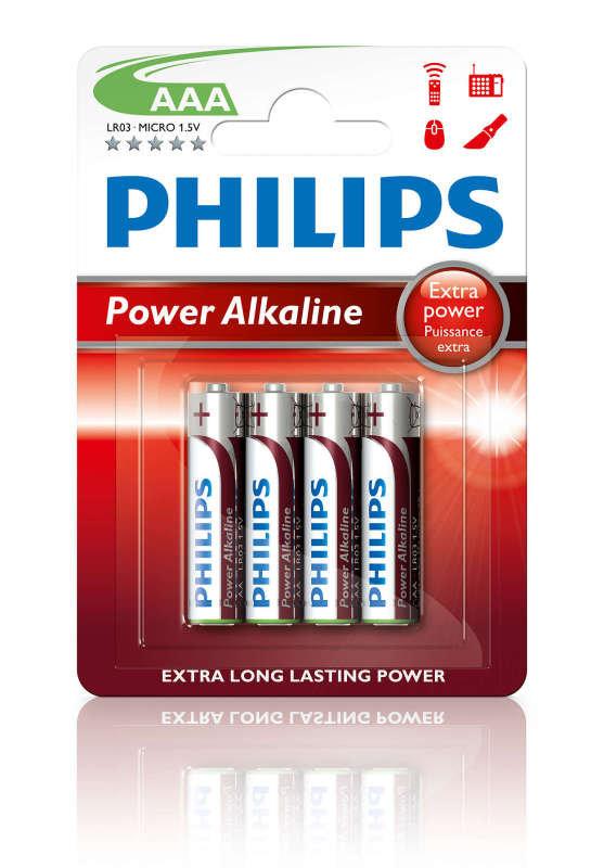 Philips Power Alkaline AAA LR03 Battery - Pack of 4
