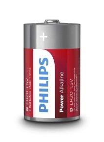 Philips Power Alkaline D LR20 Battery Pack of 10