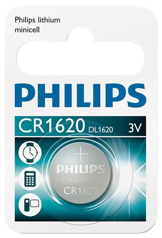 Philips Lithium Coin CR1620 Battery - Pack of 1