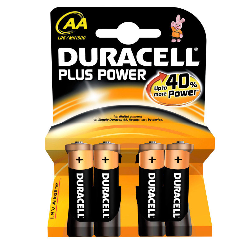 Duracell Plus Power Alkailine AA 4 Pack