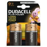 Duracell Plus Power Type D Alkaline Batteries, Pack of 2