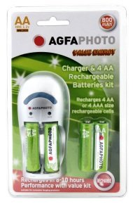 AGFA Charger & 4 x AA Batteries Kit