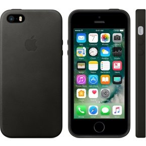 Apple iPhone SE Leather Case - Black