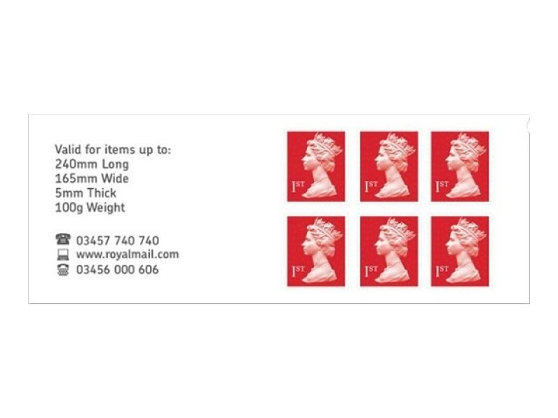 Royal Mail 1st Class Postage Stamps - 6 Pack