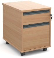 2 Drawer Mobile Pedestals With Finger Pulls- Beech