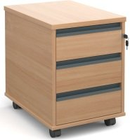 3 Drawer Mobile Pedestals With Finger Pulls Beech