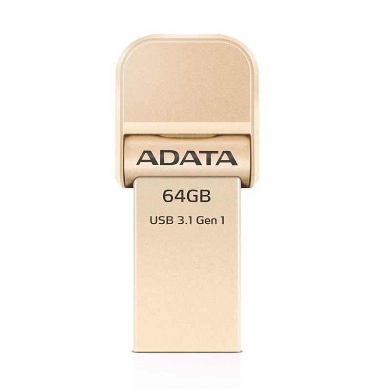 ADATA i-Memory AI920 - USB flash drive - 64 GB - USB 3.1 / Lightning - gold