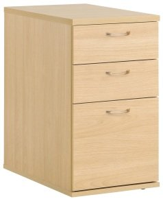 Urban Home Office 3 Drawer Desk High Pedestal 680mm - Blonde Oak