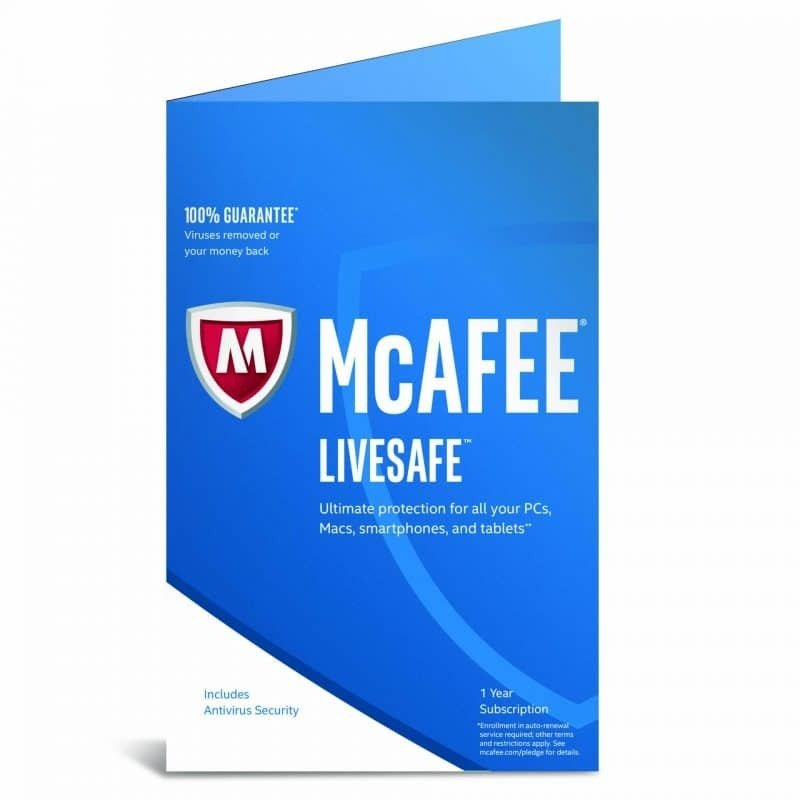 McAfee Livesafe 2017 1 Year Subscription Unlimited Devices - Electronic Software Download