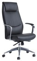 Limoges High Back Executive Chair - Black Leather Faced