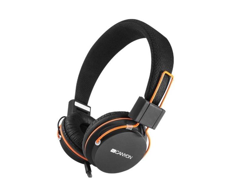 Image of Canyon Foldable Headphones detach cable + mic Black/Orange