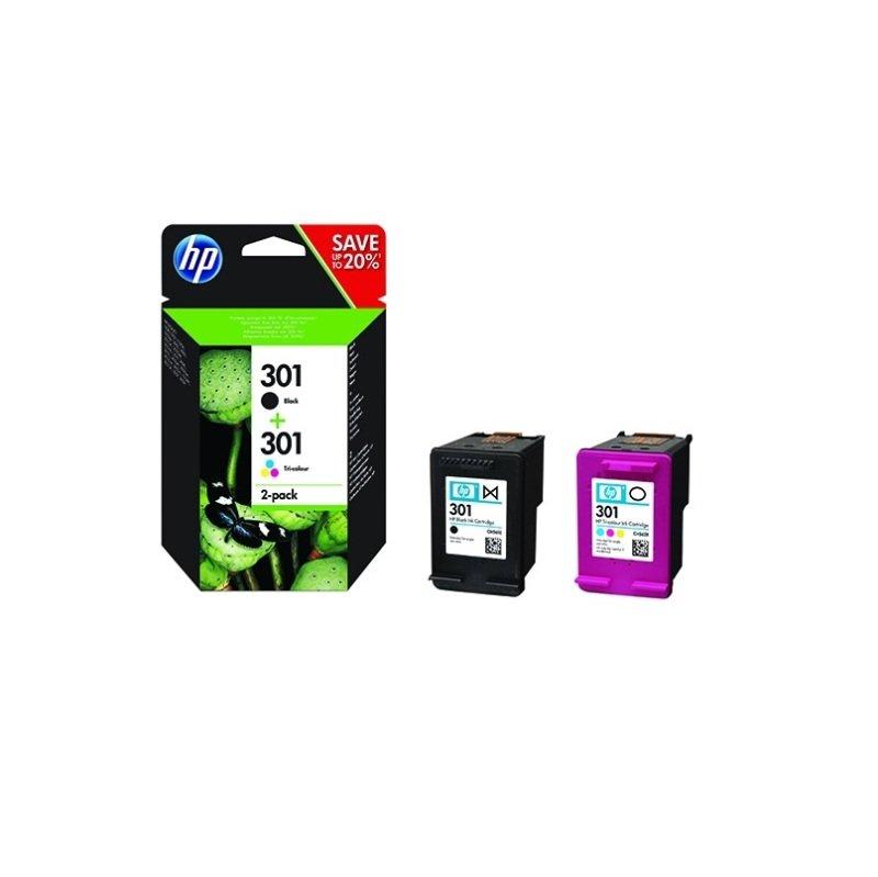 HP 301 Ink Cartridges Black & Colour Twin Pack  - N9J72AE