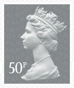 Royal Mail 50p Postage Stamps - 25 pack