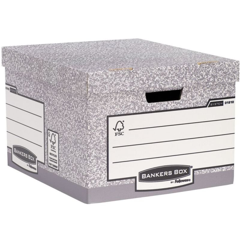 Image of Bankers Box Large Grey Storage Box - Pack of 10
