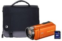 JVC GZ-R435 Orange Quad Proof Camcorder Kit inc 32GB SD Card and Case