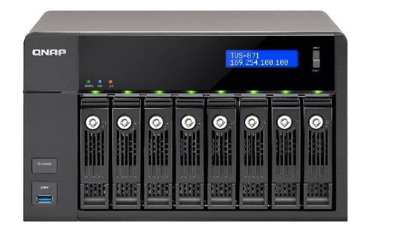 QNAP TVS-871-I3-4G 64TB (8 x 8TB WD GOLD) 8 Bay NAS with 4GB RAM