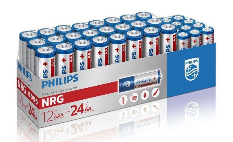 Philips NRG Alkaline Pack - 24 x AA + 12 x AAA