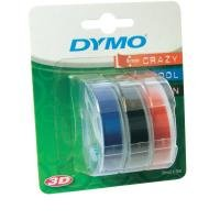 Dymo 9mm x 3m - White on Black Red Blue Tapes - 3 Rolls