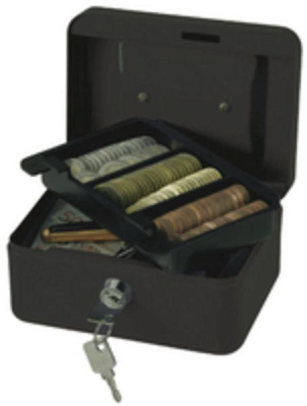 Q Connect 6 Inch Cash Box - Black
