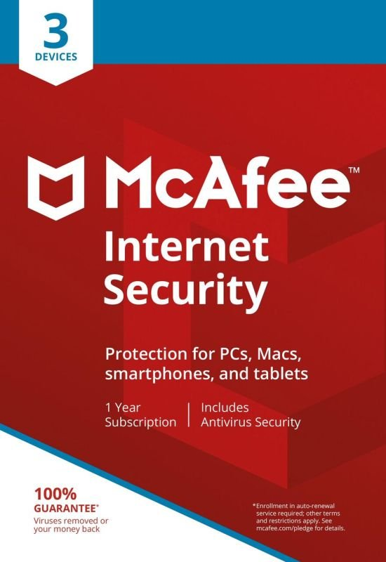 Image of McAfee Internet Security 3 Devices 1 Year Subscription - Electronic Software Download