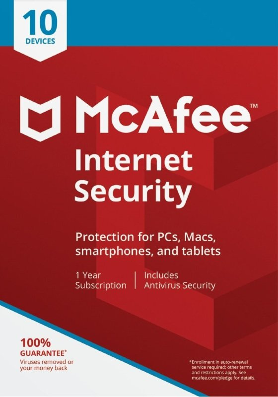 Image of McAfee Internet Security 10 Devices 1 Year Subscription - Electronic Software Download