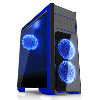 CIT Flash Mid Tower Black Blue With 3x12cm 33 Blue LED