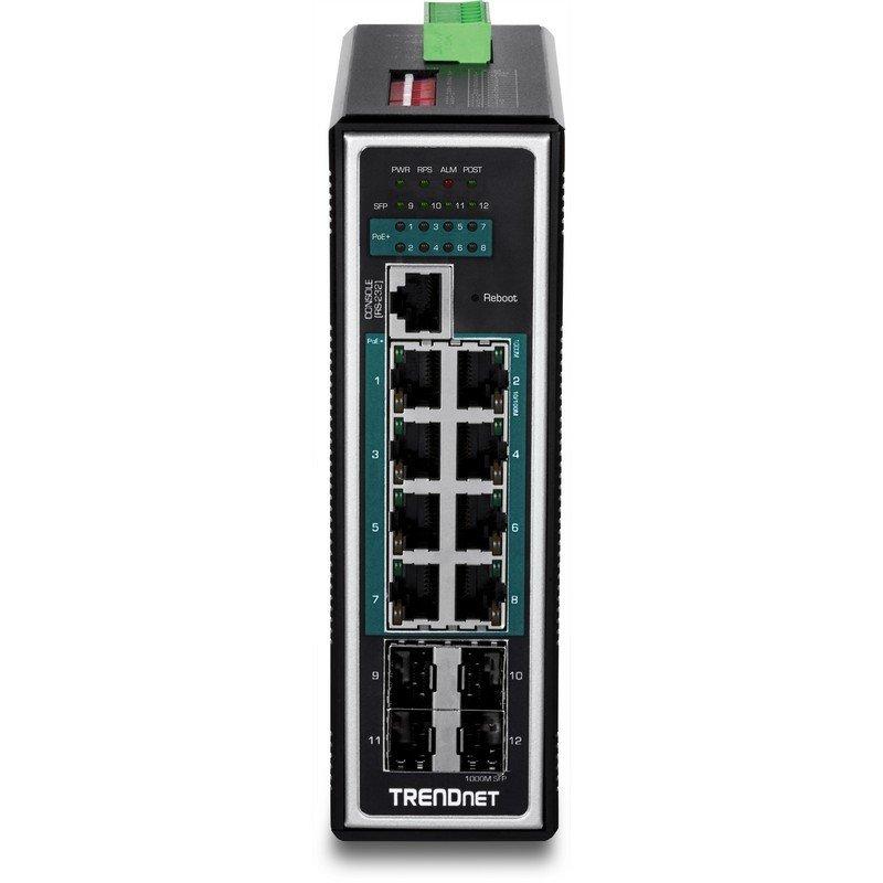 12-Port Hardened Industrial Gigabit PoE+ Layer 2+ Managed DIN-Rail Switch