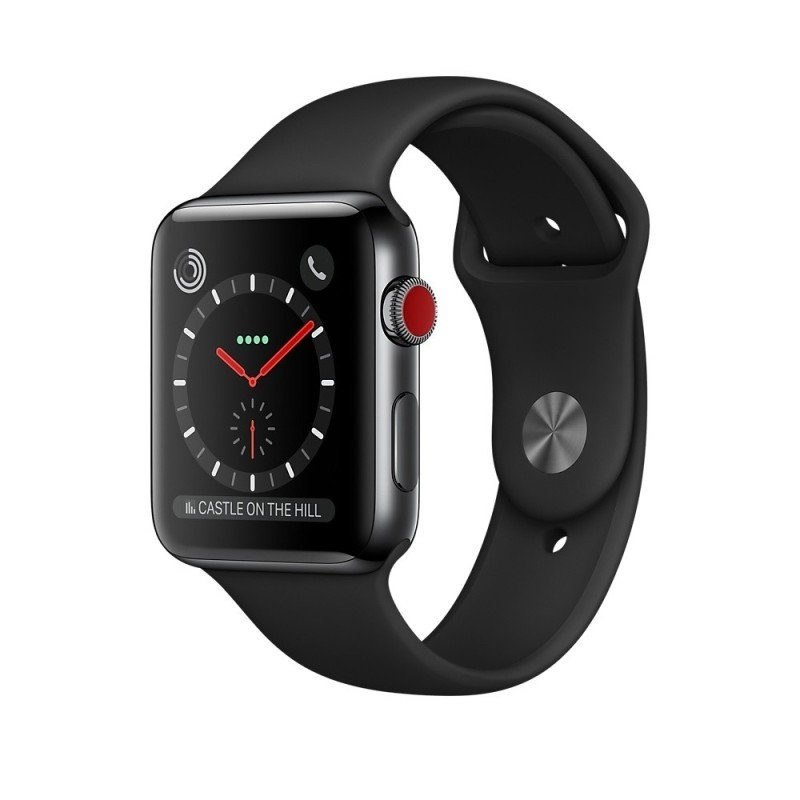 Apple Watch Series 3 GPS + Cellular, 38mm Space Black Stainless Steel Case with Black Sport Band cheapest retail price