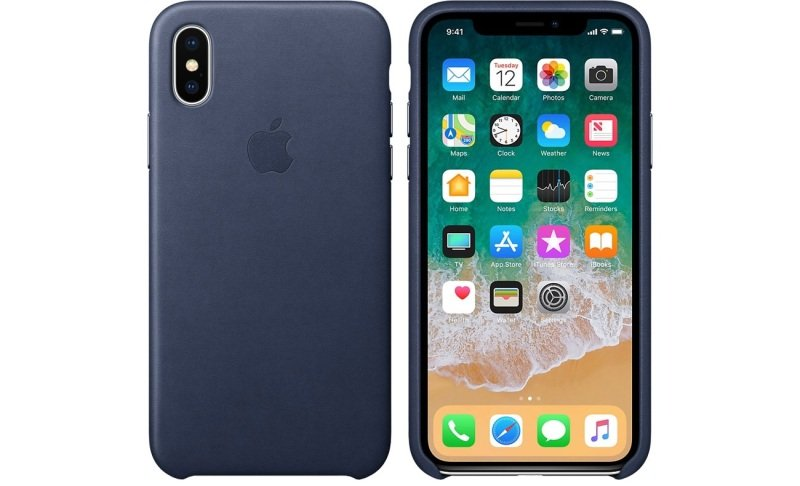 Apple iPhone X Leather Case - Midnight Blue