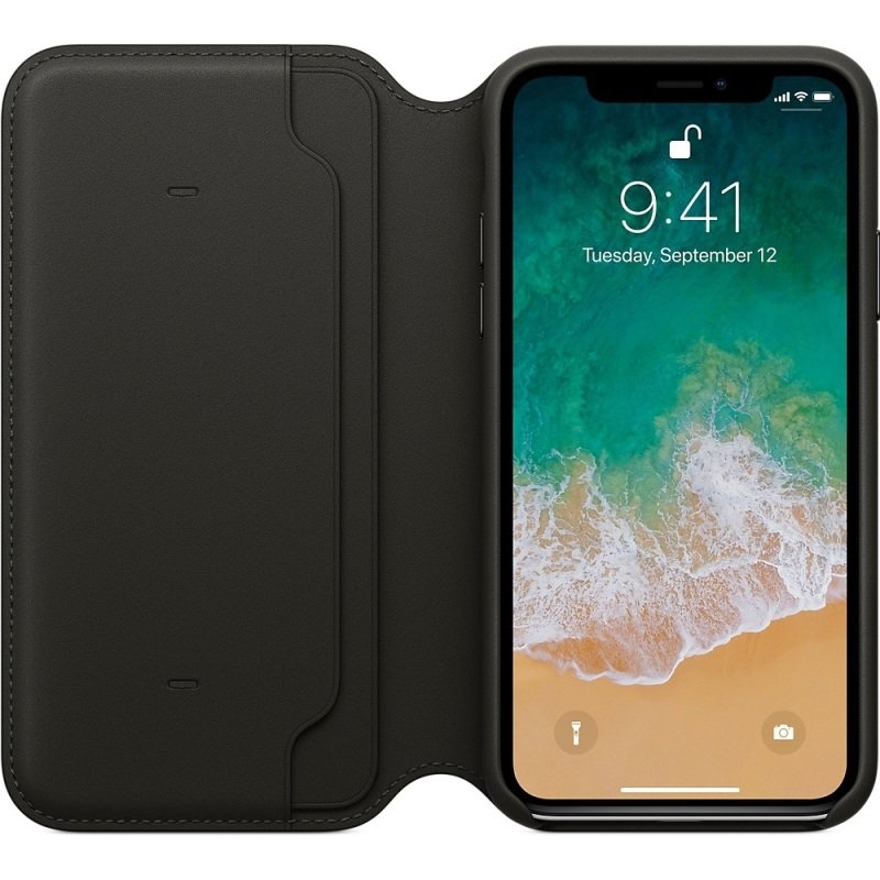 Apple iPhone X Leather Folio Case - Black