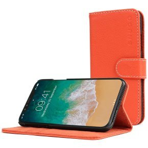 Snugg Legacy - Flip Cover For Mobile Phone - Polyurethane Leather - Orange - For Apple Iphone X