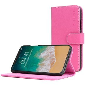 Snugg Legacy - Flip Cover For Mobile Phone - Polyurethane Leather - Hot Pink - For Apple Iphone X
