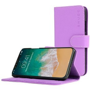 Snugg Legacy - Flip Cover For Mobile Phone - Polyurethane Leather - Purple - For Apple Iphone X