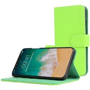 Snugg Legacy - Flip Cover For Mobile Phone - Polyurethane Leather - Green - For Apple Iphone X
