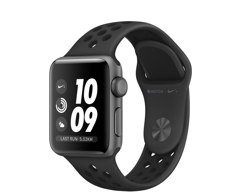 Apple Watch Nike+ GPS, 38mm Space Grey Aluminium Case with Anthracite/Black Nike Sport Band cheapest retail price