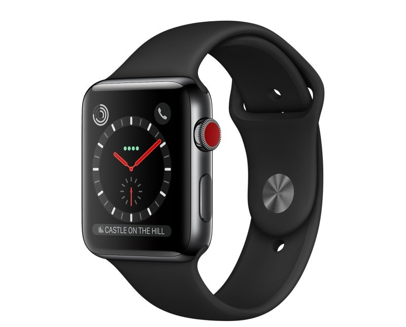 Apple Watch Series 3 GPS + Cellular, 42mm Space Black Stainless Steel Case with Black Sport Band cheapest retail price