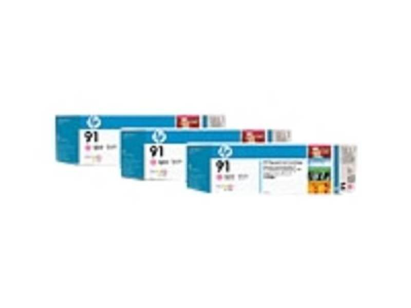 HP 91 775ml Light Magenta Ink Cartridge - 3 Pack