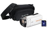 JVC GZ-R435 White Quad Proof Camcorder Kit inc Case & White HA-SR75S Headphones