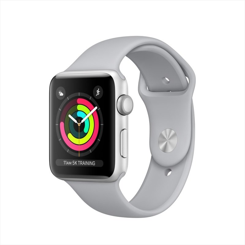 Apple Watch Series 3 GPS, 42mm Silver Aluminium Case with Fog Sport Band cheapest retail price