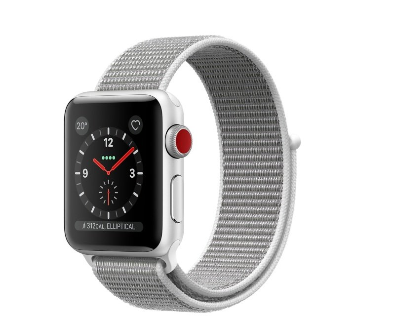 Apple Watch Series 3 GPS + Cellular, 38mm Silver Aluminium Case with Seashell Sport Loop cheapest retail price