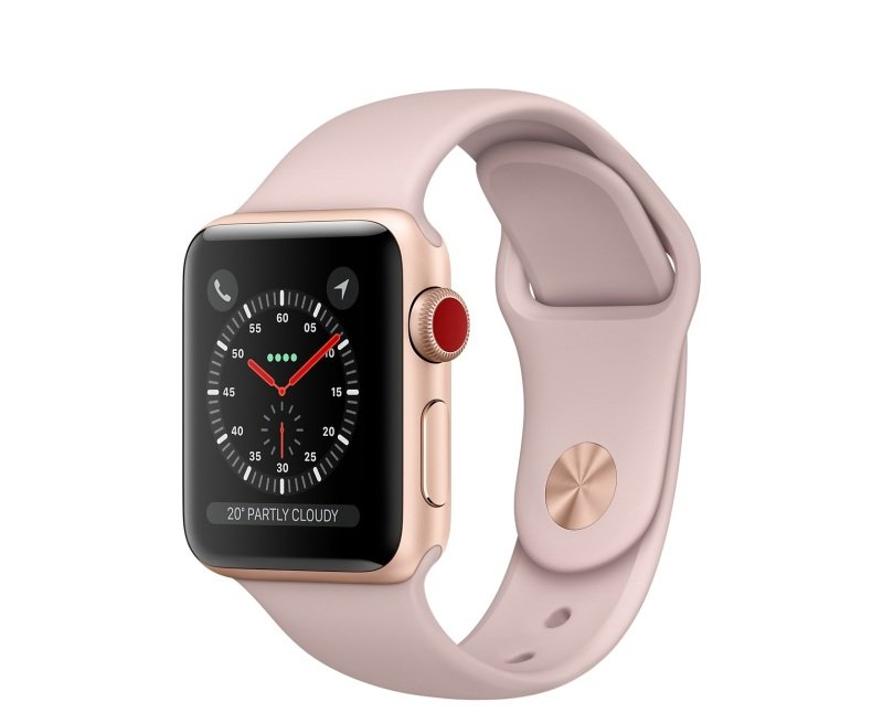 Apple Watch Series 3 GPS + Cellular, 42mm Gold Aluminium Case with Pink Sand Sport Band cheapest retail price