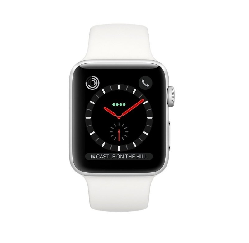 Apple Watch Series 3 GPS + Cellular, 38mm Stainless Steel Case with Soft White Sport Band cheapest retail price
