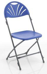 Linking Fan Back Folding Chair - Blue