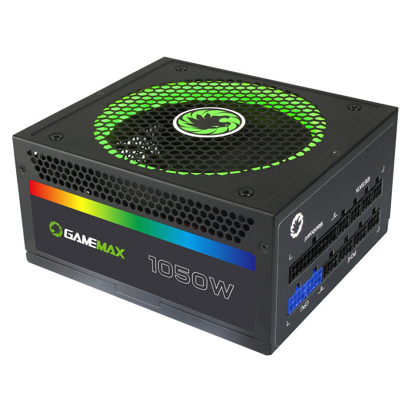 game max 1050w modular rgb gold 80 plus 14cm rgb fan illuminated logo