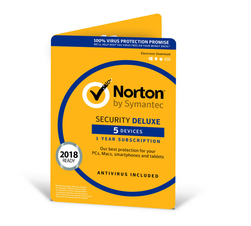 Norton Security Deluxe 3.0 1 User 5 Devices 1 Year - Electronic Software Download