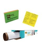 3m Postit Big Notes and Drywipe Roll 914mm (Pack of 2) with Free SuperSticky Neon Notes- 3M811282
