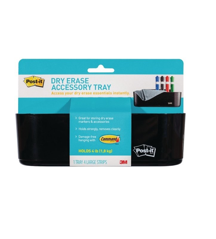 Post-it Dry Erase Black Accessory Tray with 4 Large Command Strips-  DEFTRAY-EUy