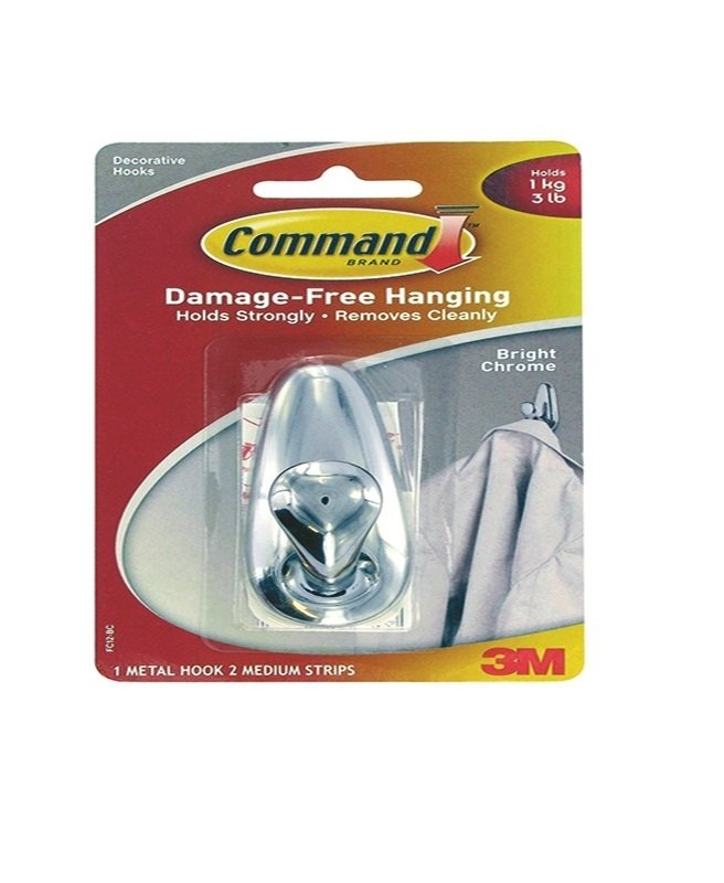 3M Command Medium Chrome Metal Hook With Command Strips -  FC12-BC