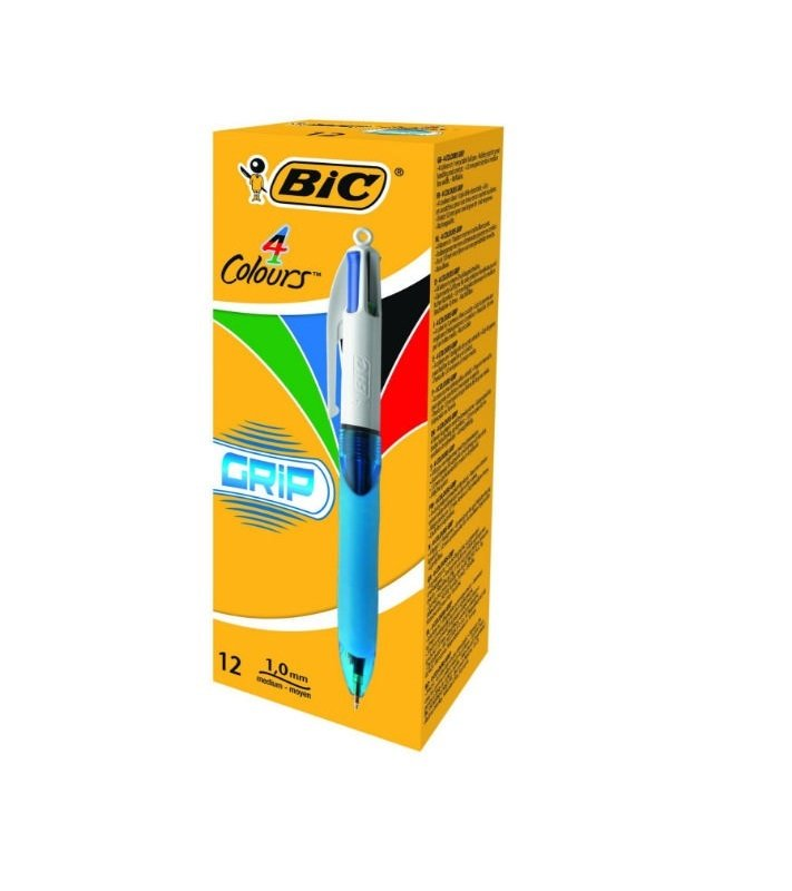 Image of Bic 4 Colour Comfort Grip Ball Pen (Pack of 12) - 8871361